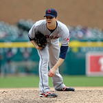 Cleveland Indians relief pitcher Rich Hill throws during the tenth inning of a baseball game against the Detroit Tigers in Detroit, Sunday, May 12, 2013. (AP Photo/Carlos Osorio)