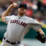 Cleveland Indians starting pitcher Zach McAllister throws during the first inning of a baseball game against the Detroit Tigers in Detroit, Sunday, May 12, 2013. (AP Photo/Carlos Osorio)