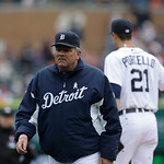 Detroit Tigers pitching coach Jeff Jones is seen during the fifth inning of a baseball game against the Cleveland Indians in Detroit, Sunday, May 12, 2013. (AP Photo/Carlos Osorio)
