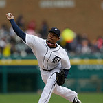 Detroit Tigers relief pitcher Jose Ortega throws during the seventh inning of a baseball game against the Cleveland Indians in Detroit, Sunday, May 12, 2013. (AP Photo/Carlos Osorio)