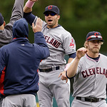 Cleveland Indians' Nick Swisher, center, celebrates the team's 4-3 win over the Detroit Tigers in the tenth inning of the American League MLB baseball game in Detroit, Sunday, May 12, 2013.  …