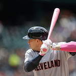 Cleveland Indians' Asdrubal Cabrera bats during the first inning of a baseball game against the Detroit Tigers in Detroit, Sunday, May 12, 2013. (AP Photo/Carlos Osorio)