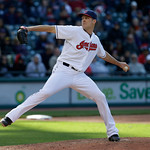 Cleveland Indians relief pitcher Nick Hagadone pitches in the seventh inning in the second baseball game of a doubleheader against the New York Yankees, Monday, May 13, 2013, in Cleveland. ( …