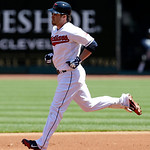 Cleveland Indians' Jason Kipnis runs the bases after hitting a solo home run off New York Yankees relief pitcher David Phelps in the first inning in the first baseball game of a doubleheader …