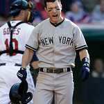 New York Yankees' Jayson Nix reacts after striking out in the eighth inning in the second baseball game of a doubleheader against the Cleveland Indians, Monday, May 13, 2013, in Cleveland. ( …