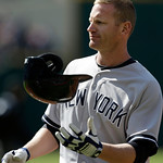 New York Yankees' Lyle Overbay tosses his helmet after flying out to left field in the third inning in the second baseball game of a doubleheader against the Cleveland Indians, Monday, May 1 …