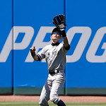 New York Yankees' Ichiro Suzuki catches a fly ball hit by Cleveland Indians' Michael Brantley in the seventh inning in the first baseball game of a doubleheader, Monday, May 13, 2013, in Cle …