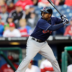 Cleveland Indians' Michael Bourn in action during an interleague baseball game against the Philadelphia Phillies, Tuesday, May 14, 2013, in Philadelphia. (AP Photo/Matt Slocum)