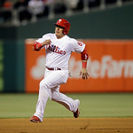 Philadelphia Phillies' Carlos Ruiz in action during an interleague baseball game against the Cleveland Indians, Tuesday, May 14, 2013, in Philadelphia. (AP Photo/Matt Slocum)
