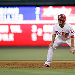 Philadelphia Phillies' Kevin Frandsen in action during an interleague baseball game against the Cleveland Indians, Tuesday, May 14, 2013, in Philadelphia. (AP Photo/Matt Slocum)