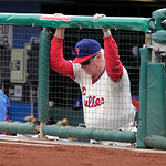 Philadelphia Phillies Manager Charlie Manuel in baseball action against the Cleveland Indians Wednesday, May 15, 2013, in Philadelphia. (AP Photo/H. Rumph Jr)