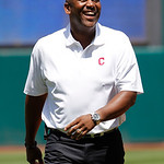 Former Cleveland Indians great Joe Carter laughs after throwing out the ceremonial first pitch before the Indians face the Miami Marlins in an interleague baseball game in Cleveland on Sunda …