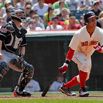 Cleveland Indians' Michael Brantley heads to first after hitting a fly ball against the Miami Marlins in the seventh inning of an interleague baseball game in Cleveland on Sunday, May 20, 20 …