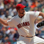 Cleveland Indians starting pitcher Derek Lowe throws against the Miami Marlins in the fourth inning of an interleague baseball game in Cleveland, Sunday, May 20, 2012. (AP Photo/Amy Sancetta …