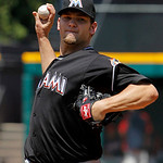 Miami Marlins starting pitcher Josh Johnson throws against the Cleveland Indians in the fourth inning of an interleague baseball game in Cleveland, Sunday, May 20, 2012. (AP Photo/Amy Sancet …