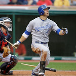 Kansas City Royals&#039; Alex Gordon (4) hits breaks his bat on a single to drive in a run in the second inning of a baseball game Tuesday, May 29, 2012, in Cleveland. Indians catcher Luke Carlin &#8230;