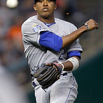 Kansas City Royals shortstop Alcides Escobar throws out Cleveland Indians&#039; Aaron Cunningham at first in the sixth inning of a baseball game Tuesday, May 29, 2012, in Cleveland. The Royals wo &#8230;