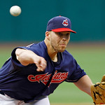 Cleveland Indians starting pitcher Justin Masterson delivers against the Kansas City Royals in the first inning of a baseball game Tuesday, May 29, 2012, in Cleveland. (AP Photo/Mark Duncan)