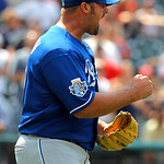 Kansas City Royals relief pitcher Jonathan Broxton reacts after getting the final out in the ninth inning of the Royals 6-3 win over the Cleveland Indians in a baseball game in Cleveland on  …