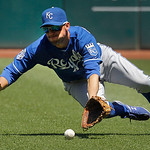 Kansas City Royals right fielder Jeff Francoeur cannot catch an RBI fly ball by Cleveland Indians' Casey Kotchman in the second inning of a baseball game in Cleveland on Wednesday, May 30, 2 …