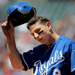 Kansas City Royals second baseman Johnny Giavotella is seen on the field against the Cleveland Indians in the fourth inning of a baseball game in Cleveland on Wednesday, May 30, 2012. (AP Ph …