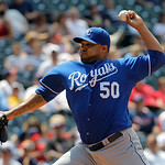 Kansas City Royals relief pitcher Jose Mijares throws against the Cleveland Indians in the eighth inning of a baseball game in Cleveland on Wednesday, May 30, 2012. (AP Photo/Amy Sancetta)