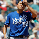 Kansas City Royals starting pitcher Bruce Chen reacts after giving up an RBI hit to Cleveland Indians' Shin-Soo Choo in the second inning of a baseball game in Cleveland on Wednesday, May 30 …