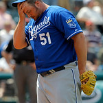 Kansas City Royals relief pitcher Jonathan Broxton wipes his brow while pitching against the Cleveland Indians in the ninth inning of a baseball game in Cleveland on Wednesday, May 30, 2012. …