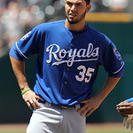 Kansas City Royals first baseman Eric Hosmer is seen on the field against the Cleveland Indians in the fifth inning of a baseball game in Cleveland on Wednesday, May 30, 2012. (AP Photo/Amy  …