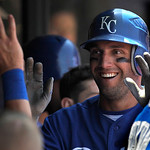 Kansas City Royals' Jeff Francoeur is congratulated in the dugout after scoring against the Cleveland Indians in the fourth inning of a baseball game in Cleveland on Wednesday, May 30, 2012. …