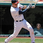 Cleveland Indians' Luke Carlin gets his first RBI in the Major Leagues against the strikes out in the second inning of a baseball game in Cleveland on Wednesday, May 30, 2012. (AP Photo/Amy  …