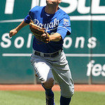Kansas City Royals right fielder Jeff Francoeur runs for an RBI fly ball by Cleveland Indians' Casey Kotchman in the second inning of a baseball game in Cleveland on Wednesday, May 30, 2012. …