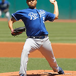 Kansas City Royals starting pitcher Bruce Chen throws against the Cleveland Indians in the first inning of a baseball game in Cleveland on Wednesday, May 30, 2012. (AP Photo/Amy Sancetta)