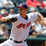 Cleveland Indians pitcher Scott Barnes, making his major league debut, throws during the sixth inning of a baseball game against the Kansas City Royalks in Cleveland on Wednesday, May 30, 20 …