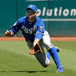 Kansas City Royals right fielder Jeff Francoeur dives for an RBI fly ball by Cleveland Indians' Casey Kotchman in the second inning of a baseball game in Cleveland on Wednesday, May 30, 2012 …