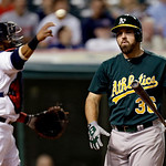 Oakland Athletics' Derek Norris reacts after striking out against Cleveland Indians relief pitcher Joe Smith in the ninth inning of a baseball game, Monday, May 6, 2013, in Cleveland. The In …