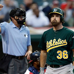 Oakland Athletics' Derek Norris (36) rects after being called out on strikes in the third inning of a baseball game against the Cleveland Indians Monday, May 6, 2013, in Cleveland. (AP Photo …