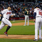 Cleveland Indians' Mark Reynolds rounds first after a solo home run against the Oakland Athletics in the fifth inning of a baseball game Monday, May 6, 2013, in Cleveland. (AP Photo/Mark Dun …