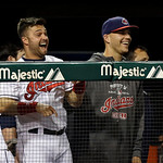Cleveland Indians' Nick Swisher, left, and Justin Masterson laugh in the dugout in the seventh inning of a baseball game against the Oakland Athletics Monday, May 6, 2013, in Cleveland. (AP  …