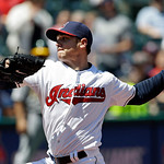 Cleveland Indians starting pitcher Scott Kazmir delivers against the Oakland Athletics in the third inning of a baseball game Thursday, May 9, 2013, in Cleveland. (AP Photo/Mark Duncan)