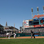 Cleveland Indians' Lonnie Chisenhall, center, leads off first in the third inning of a baseball game against the Oakland Athletics Thursday, May 9, 2013, in Cleveland. (AP Photo/Mark Duncan)