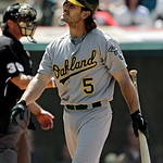 Oakland Athletics' John Jaso reacts after striking out against Cleveland Indians relief pitcher Cody Allen with the bases loaded in the eighth inning of a baseball game Thursday, May 9, 2013 …