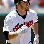 Cleveland Indians' Mark Reynolds runs out a two-run home run off Oakland Athletics relief pitcher Evan Scribner in the fifth inning of a baseball game, Thursday, May 9, 2013, in Cleveland. ( …