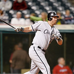 Chicago White Sox's Adam Dunn bats against the Cleveland Indians in a baseball game, Monday, Oct. 1, 2012, in Cleveland. (AP Photo/Tony Dejak)