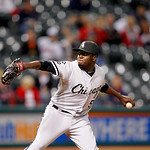 Chicago White Sox's Leyson Septimo pitches against the Cleveland Indians in a baseball game, Monday, Oct. 1, 2012, in Cleveland. (AP Photo/Tony Dejak)
