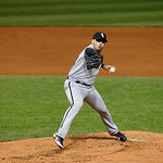 Chicago White Sox starting pitcher Hector Santiago pitches in a baseball game against the Cleveland Indians, Monday, Oct. 1, 2012, in Cleveland. (AP Photo/Tony Dejak)