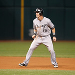Chicago White Sox's Gordon Beckham leads off second base in a baseball game against the Cleveland Indians, Monday, Oct. 1, 2012, in Cleveland. (AP Photo/Tony Dejak)