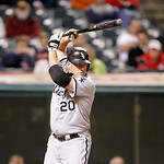 Chicago White Sox's Kevin Youkilis bats against the Cleveland Indians in a baseball game, Monday, Oct. 1, 2012, in Cleveland. (AP Photo/Tony Dejak)
