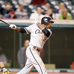 Chicago White Sox's Dewayne Wise bats against the Cleveland Indians in a baseball game, Monday, Oct. 1, 2012, in Cleveland. (AP Photo/Tony Dejak)