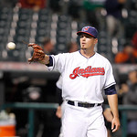 Cleveland Indians pitcher Scott Maine is thrown a ball in a baseball game against the Chicago White Sox, Monday, Oct. 1, 2012, in Cleveland. (AP Photo/Tony Dejak)